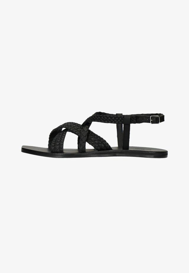 MIT GEFLOCHTENEM RIEMCHEN - Sandals - black