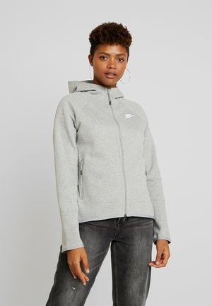 Huvtröja med dragkedja - grey heather/white
