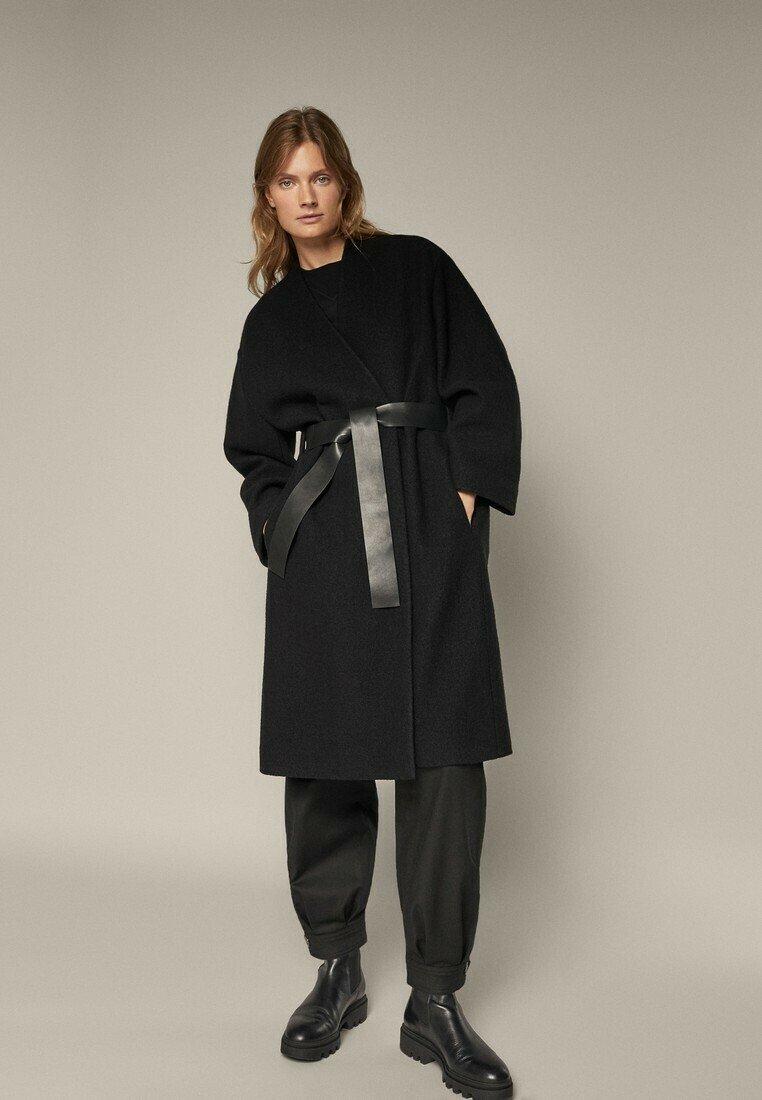 Massimo Dutti - Klasyczny płaszcz - black