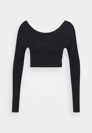 LIFESTYLE SEAMLESS LONG SLEEVE CROP - Long sleeved top - black