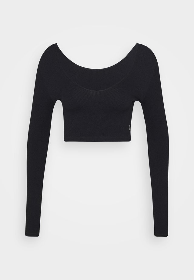LIFESTYLE SEAMLESS LONG SLEEVE CROP - T-shirt à manches longues - black