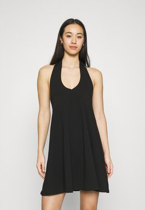 HALTERNECK DRESS - Jersey dress - black