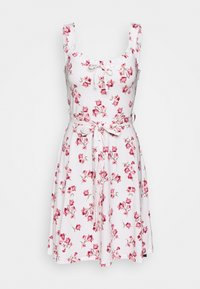 Dorothy Perkins - FLORAL RUFFLE FIT AND FLARE - Žerzejové šaty - cream - 0