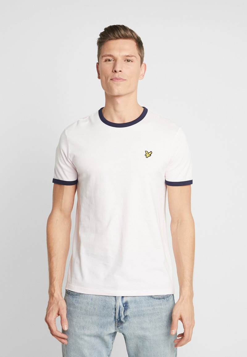 Lyle & Scott - RINGER TEE - T-shirt basic - strawberry cream/navy