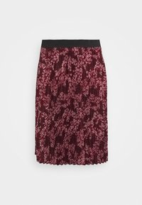 FLORAL PLEAT MIDI SKIRT - A-line skirt - berry