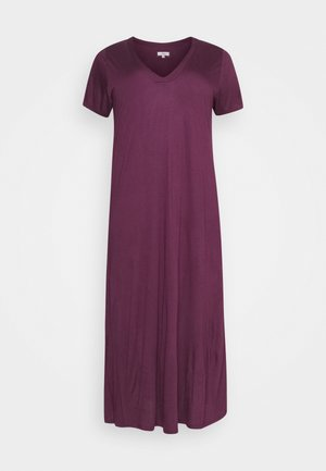 PURPLE V-NECK VISCOSE LONG NIGHTDRESS - Nightie - purple