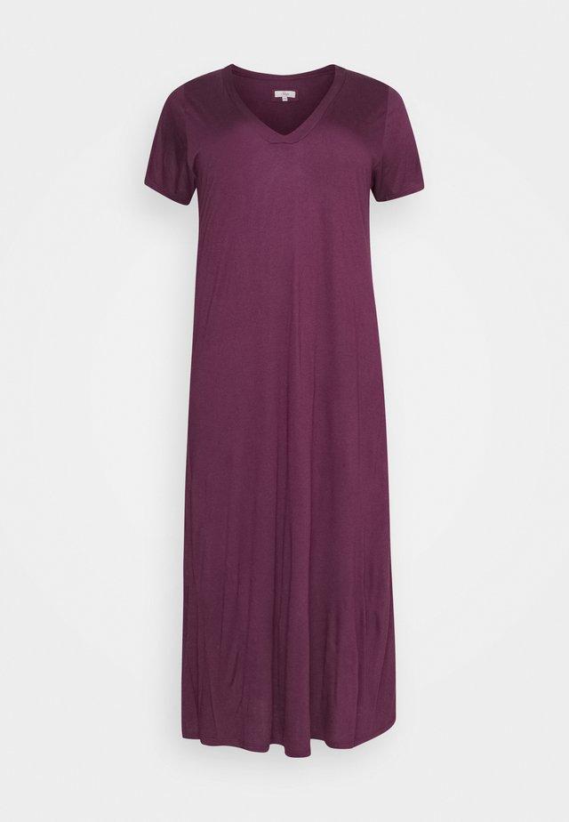 PURPLE V-NECK VISCOSE LONG NIGHTDRESS - Negligé - purple
