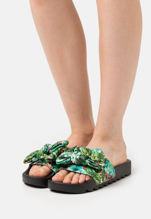 SLIDE PRINTED BOW - Mules - black