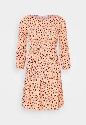 SMOCKED BUBBLE SLEEVE MINI DRESSES WITH ROUND NECK - Day dress - peach ditsy