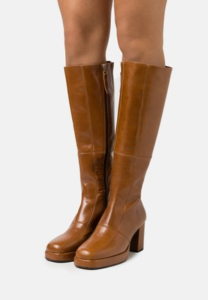 KAY PLATFROM KNEE HIGH BOOT - Platform-saappaat - tan