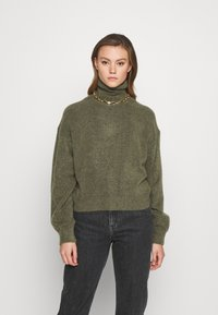 Weekday - AGGIE TURTLENECK - Jumper - olive green melange - 0