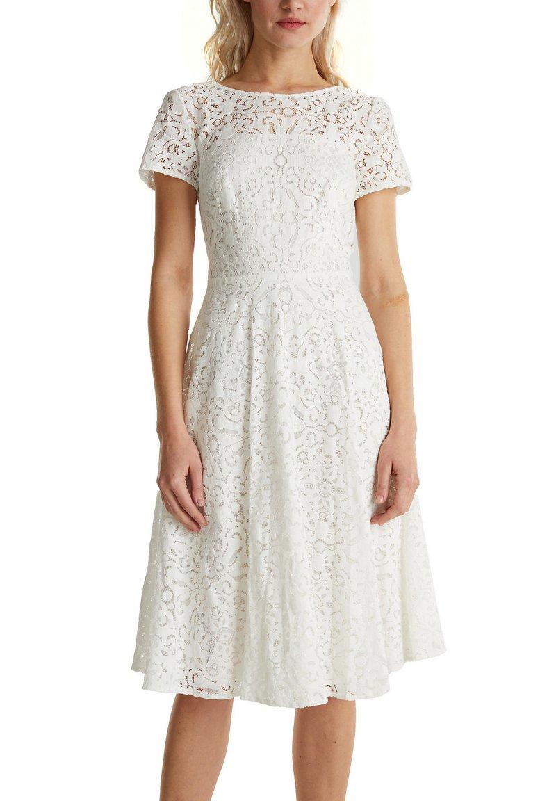 SPITZEN-KLEID MIT SCHWINGENDEM ROCK - Cocktailkleid/festliches Kleid - white
