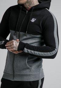 SIKSILK - CUT AND SEW ZIPTHROUGH HOODIE - Zip-up hoodie - black/grey marl - 4