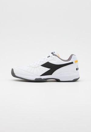 S.CHALLENGE 3 CLAY - Tennisskor för grus - white/black/saffron