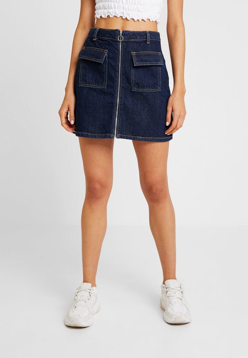 Miss Selfridge - ZIP THROUGH SKIRT - A-line skirt - blue denim