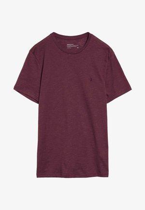 JAAMES STRUCTURE - T-shirt basic - dark aubergine-snow white