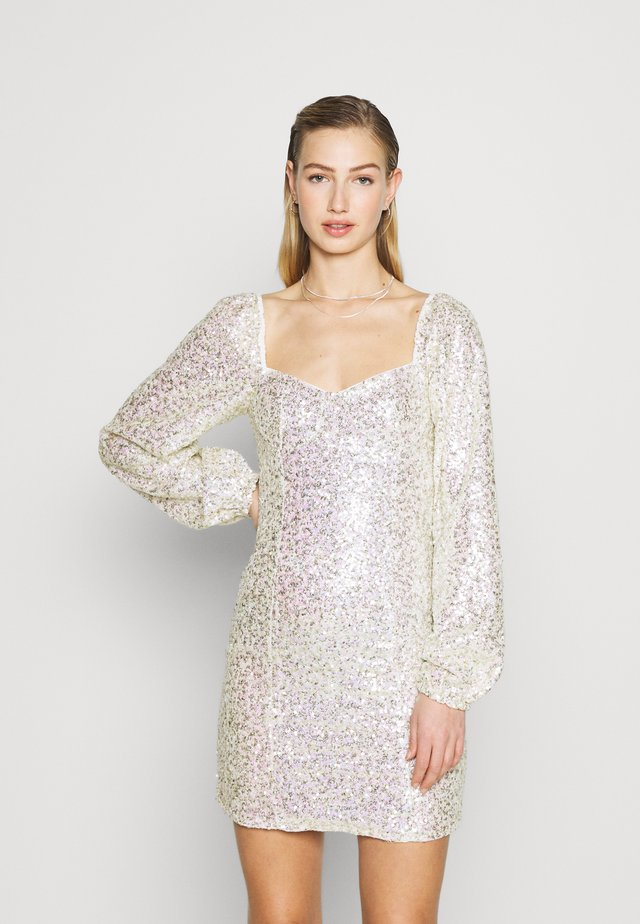 MINI DRESS WITH PUFF LONG SLEEVES - Juhlamekko - gold/pink