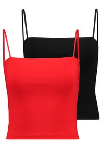 Gina Tricot - SCARLETT SINGLET 2 PACK - Top - black/happy red - 0