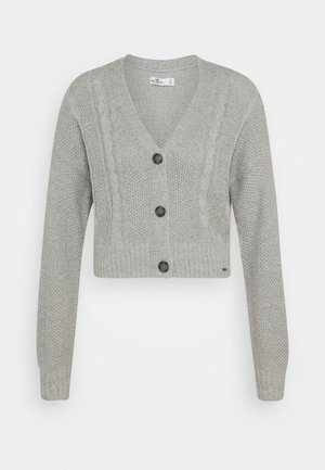 CROP CABLE CARDI - Neuletakki - medium grey