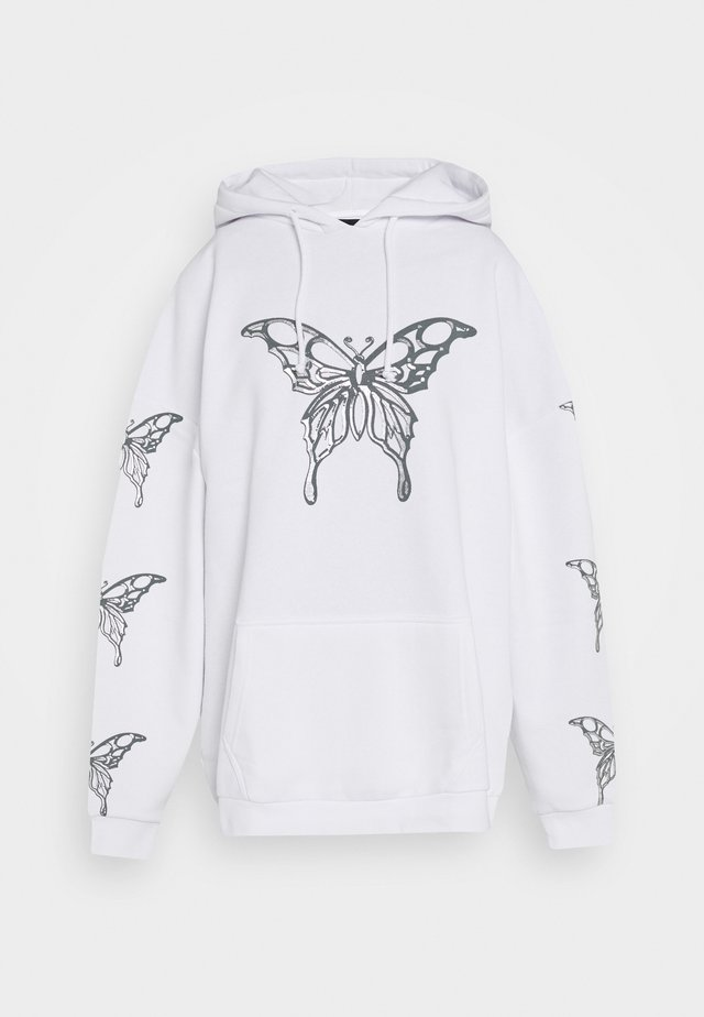 METALLIC BUTTERFLY HOODIE - Sweat à capuche - white