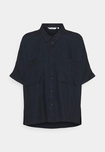 BLOUSE SOLID LOOSE SHAPE - Button-down blouse - sky captain blue