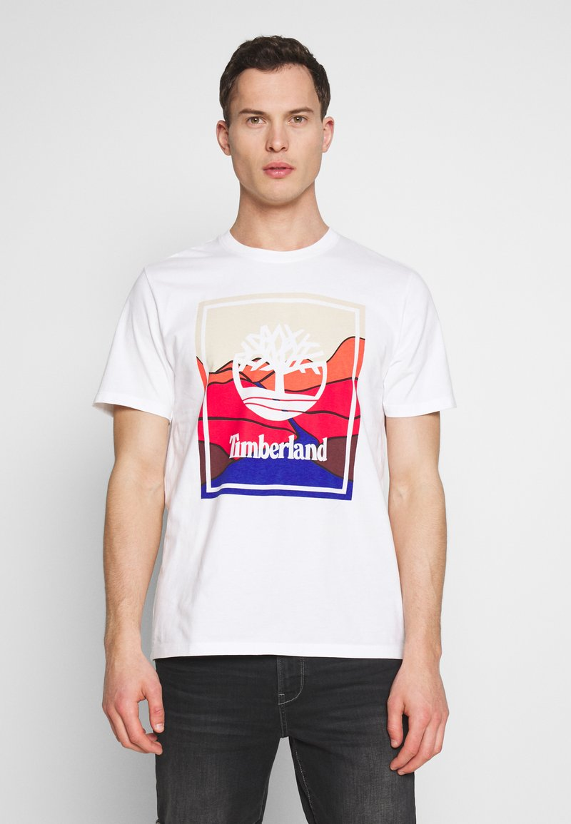 Timberland - KENNEBEC RIVER HORIZON GRAPHIC TEE - T-shirt med print - white