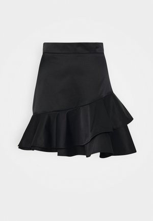 SHEEN RUFFLE - A-line skirt - black