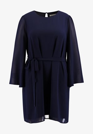SLEEVE BELTED MINI DRESS - Vestido informal - navy