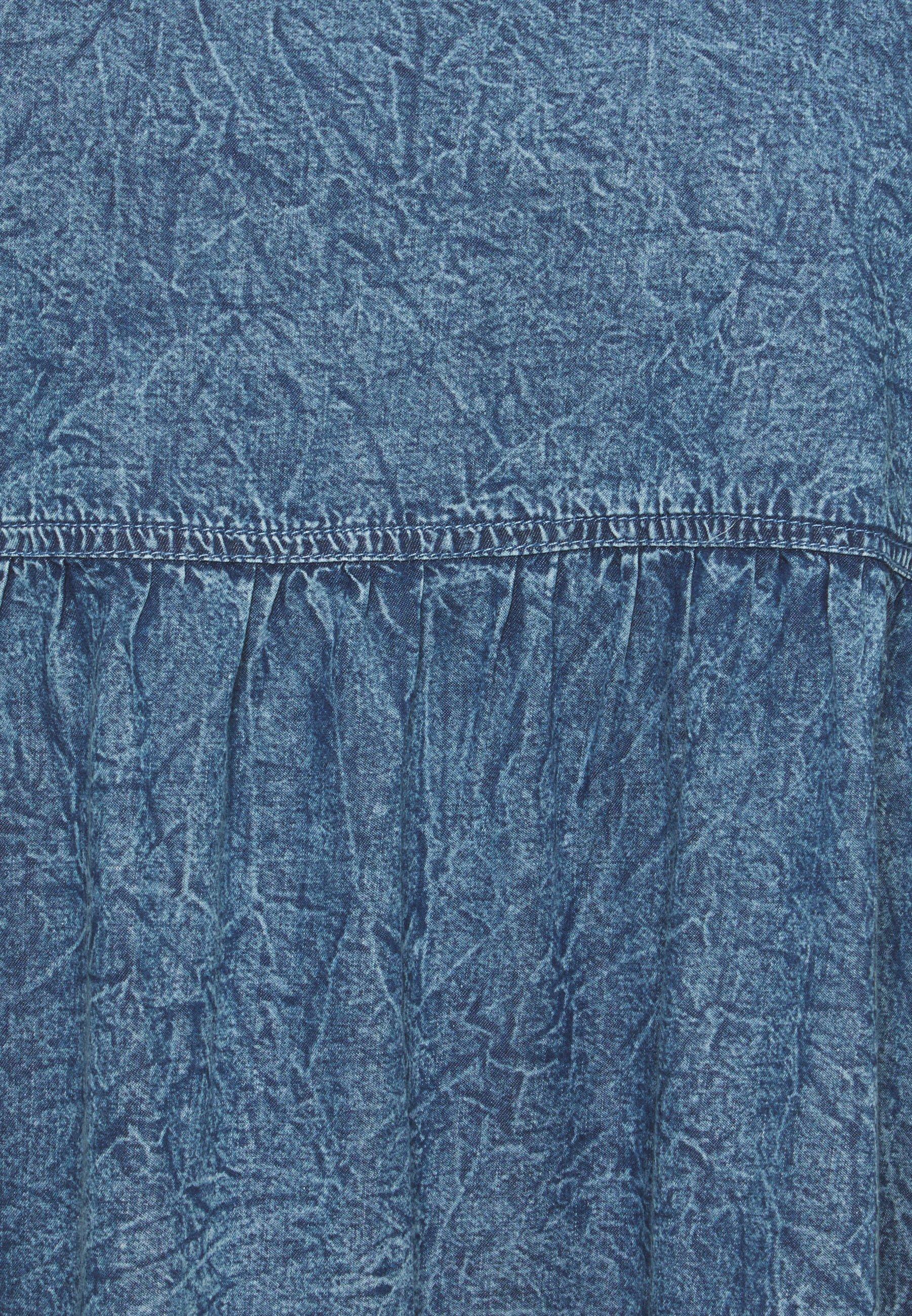 Women SLEEVELESS SMOCK DRESS - Denim dress