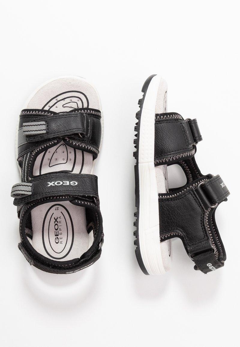 Geox - ALBEN BOY - Walking sandals - black/grey