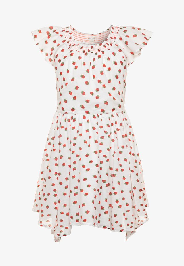 ERIN SMOCKED NECK DRESS VOIL - Day dress - ivory/red