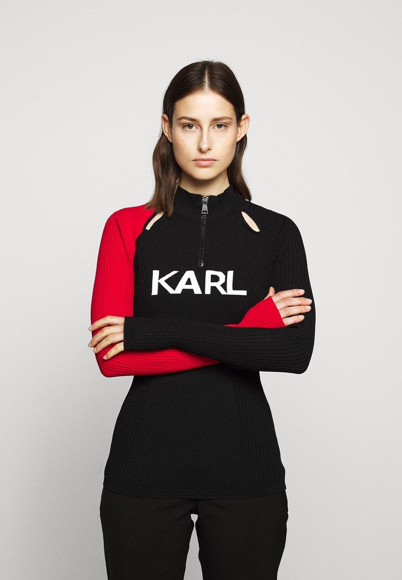 KARL LAGERFELD - BICOLOR LOGO ZIP NECK - Jersey de punto - black