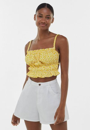 PRINTED SMOCKED WITH OPEN BACK - Top - yellow