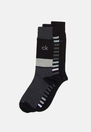 MENS MULTI STRIPE CREW COOPER 3 PACK - Socks - black