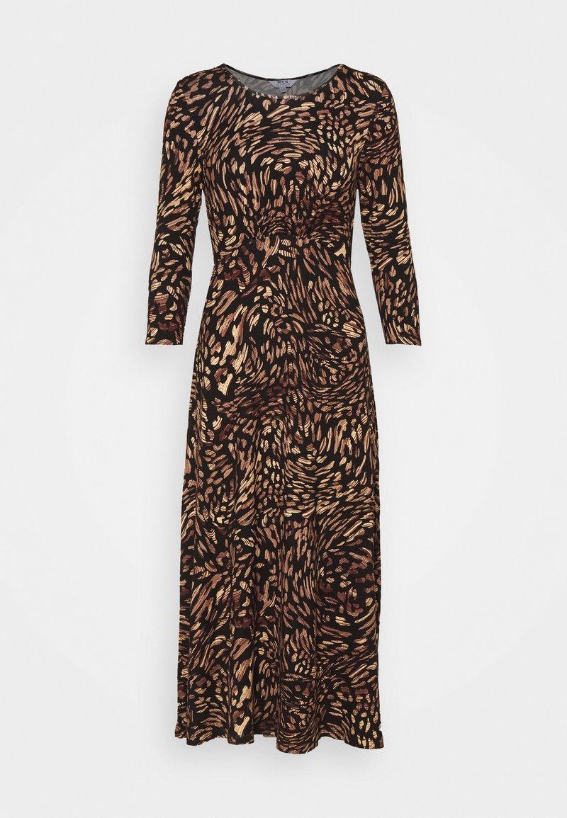 Dorothy Perkins Petite - ANIMAL EMPIRE SEAM MIDI DRESS - Jersey dress - black
