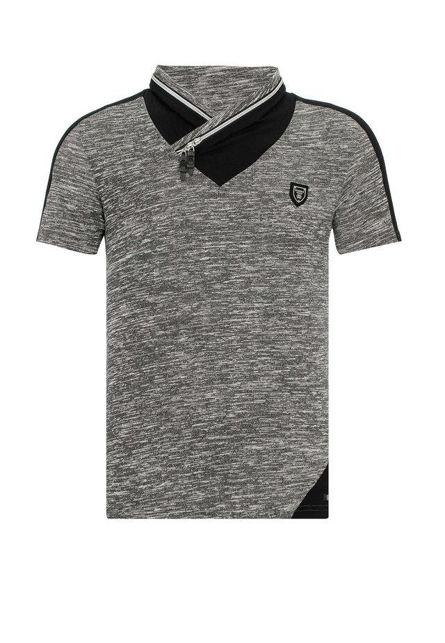 MIT GESCHICHTETEM KRAGEN - Print T-shirt - black