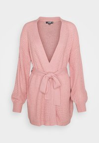 Missguided Tall - WAFFLE STITCH BELTED BALLOON SLEEVE CARDI - Cardigan - rose - 0