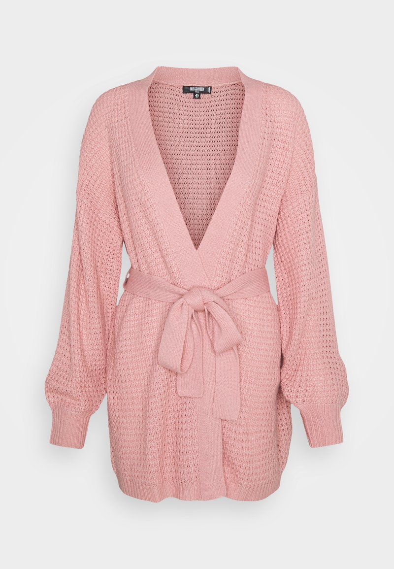 Missguided Tall - WAFFLE STITCH BELTED BALLOON SLEEVE CARDI - Cardigan - rose