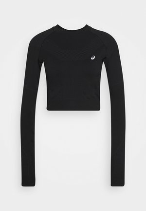 SEAMLESS CROP - Funktionstrøjer - performance black/graphite grey