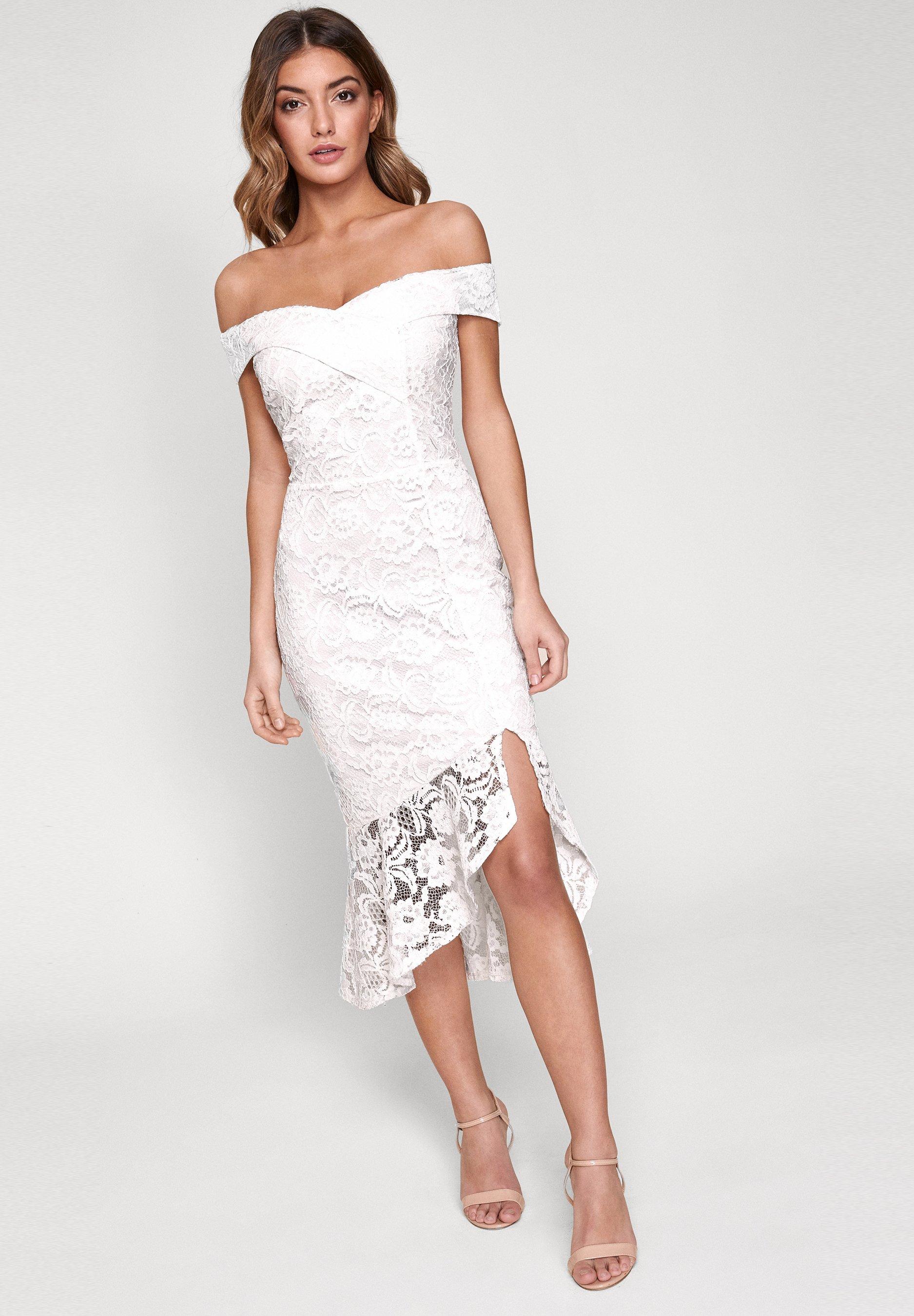 Lipsy Flippy Cocktailkleid Festliches Kleid White Weiss Zalando De