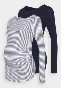 Anna Field MAMA - 2 PACK - Bluzka z długim rękawem - white/navy - 0
