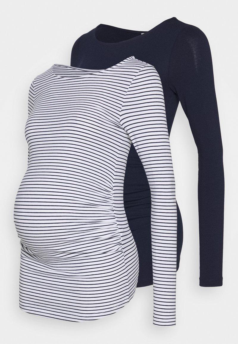 Anna Field MAMA - 2 PACK - Bluzka z długim rękawem - white/navy
