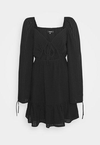 SHEER CHECK CUT OUT SKATER DRESS - Day dress - black