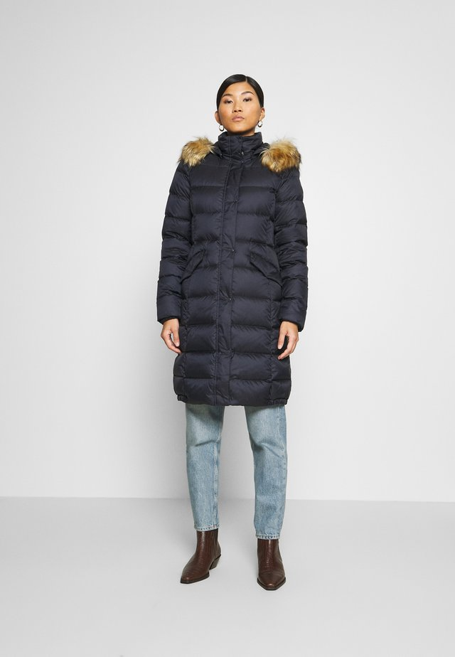 COAT LONG HOOD FLAP POCKETS - Down coat - midnight blue