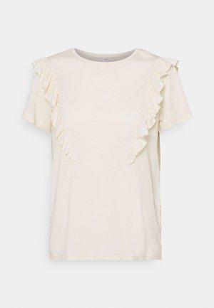 JDYKAREN FROSTY FRILL - Print T-shirt - beige