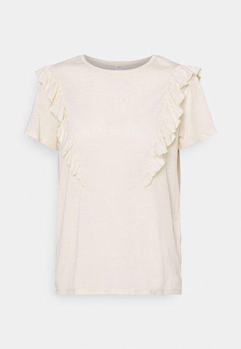 JDYKAREN FROSTY FRILL - T-shirts med print - beige