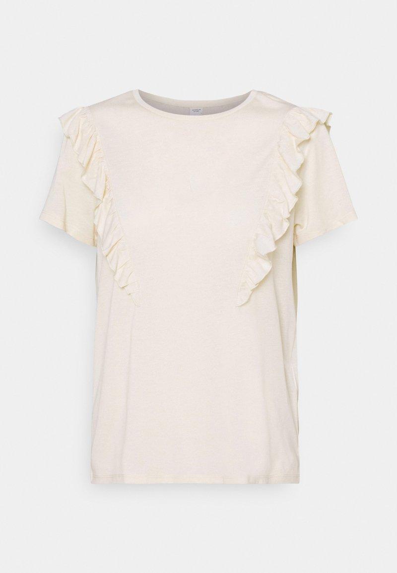 JDY - JDYKAREN FROSTY FRILL - Print T-shirt - beige