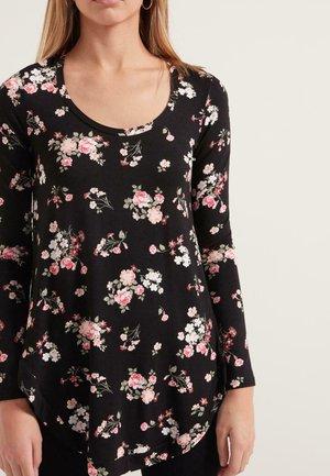 MIT ASYMMETRISCHEM SAUM - Long sleeved top - nero st.romantic flowers
