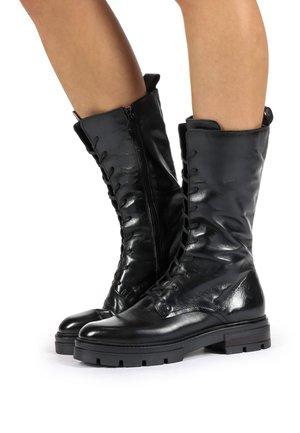 Platform ankle boots - black, mottled black