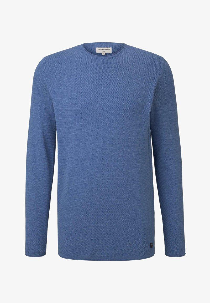 TOM TAILOR DENIM ZIGZAG STRUCTURED CREWNECK - Strickpullover - soft light blue melange/hellblau WAWm7L